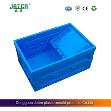 Jaten blue folding plastic storage turnover boxes/containers collapsible wholesale w/wo lid,factory direct