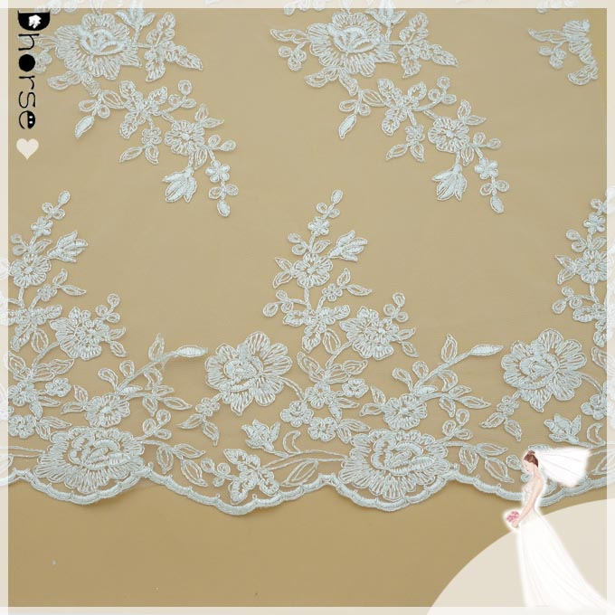 African french embroidery lace/white bridal beaded lace fabric/flower pattern lace with cord DHBF397