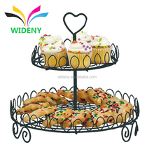 2 tier foldable wedding decorative wire metal folding fancy individual mini candy cup cake cupcake stand for holding rack
