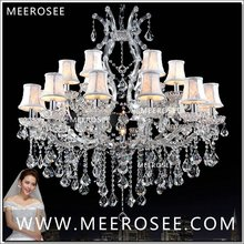 MEEROSEE Maria Theresa Crystal Chandelier Light Fixture Silver Clear Lamp for Hotel Restaurant Lobby Foyer MD8475