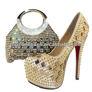 2014 new fashion italian shoes with matching bags to match women in wedding/evening party