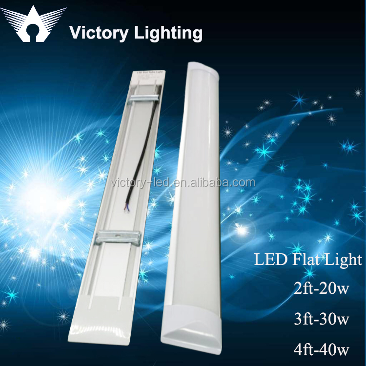 Led linear light fixture 40W Indoor ceiling surface mounted LED Batten light tube/ flat led tube/narrow led