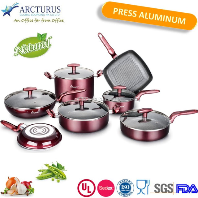 Hot selling Aluminum cookware set with Matellic paint and painted bakelite handle