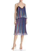 Multi color O-Neck Look-through Back woven Puffy chiffon evening dress