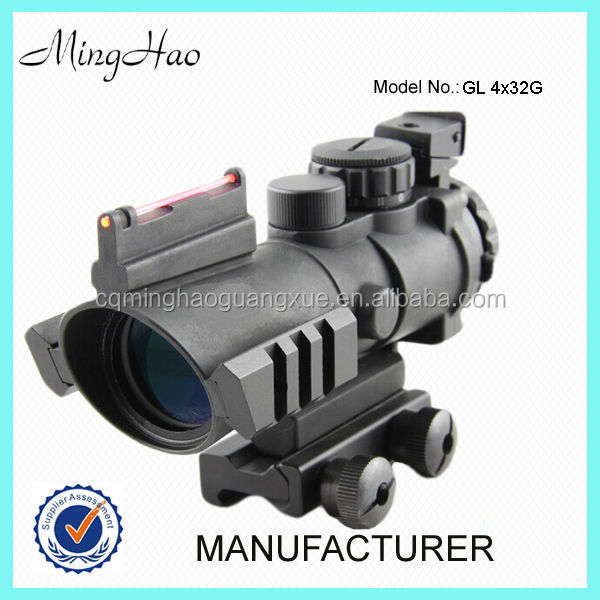 GL4x32G,Illuminated Red Green Blue Reticle Rifle hunting scope with red fibre lighting