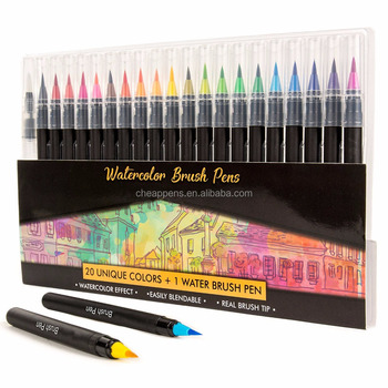 professional nontoxic 20+1 soft real tip watercolor brush pens set