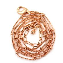 Jewelry Making Supplier 1.5mm Rose Gold Ball Station Chain Stainless Steel Locket Necklace Chains