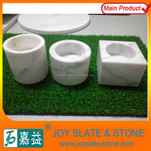 White marble customized tea light candle holder