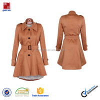 Womens Double Breasted Belted Trench Rain Coats Short Jacket