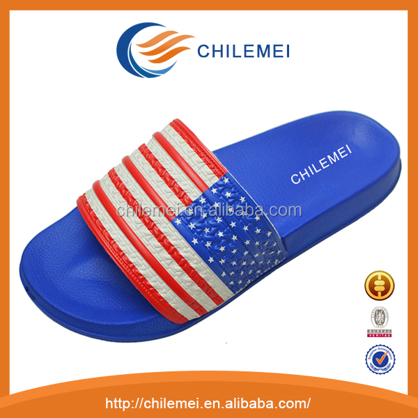 national flag design leather strap men beach slipper