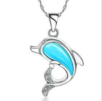 new trandy cute design girls blue opal stone animal shaped dolphin pendant