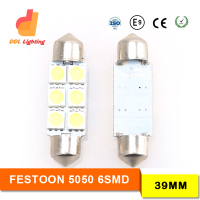 Festoon T10 Dome Panel Light 6 SMD 5050 LED 39mm Car Reading Interior Map Roof light 12V white blue interior led lights for cars