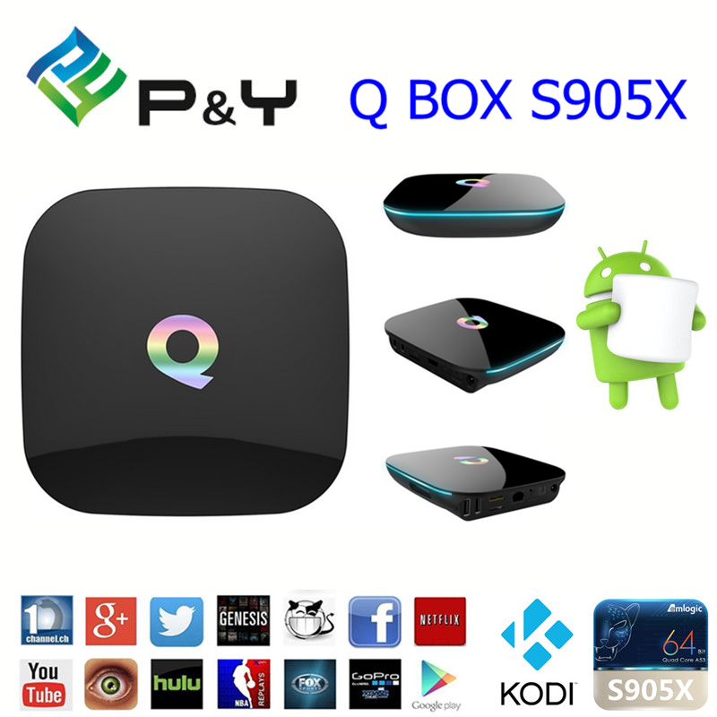 2016 China manufacture supply ! Android 6.0 S905x Quad core CPU Penta Core GPU 2GB DDR3 RAM 16GB EMMC ROM Q BOX Android tv box