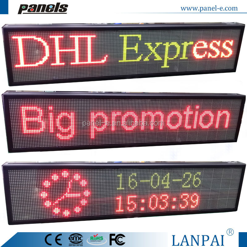 Programmable LED illuminated scrolling advertising moving text sign