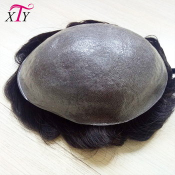 100% virgin human hair men toupee curly natural black color toupee ultra thin skin toupee for men