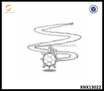 925 Sterling Silver Lucky Turtle Pearl Oyster Cage Pendant