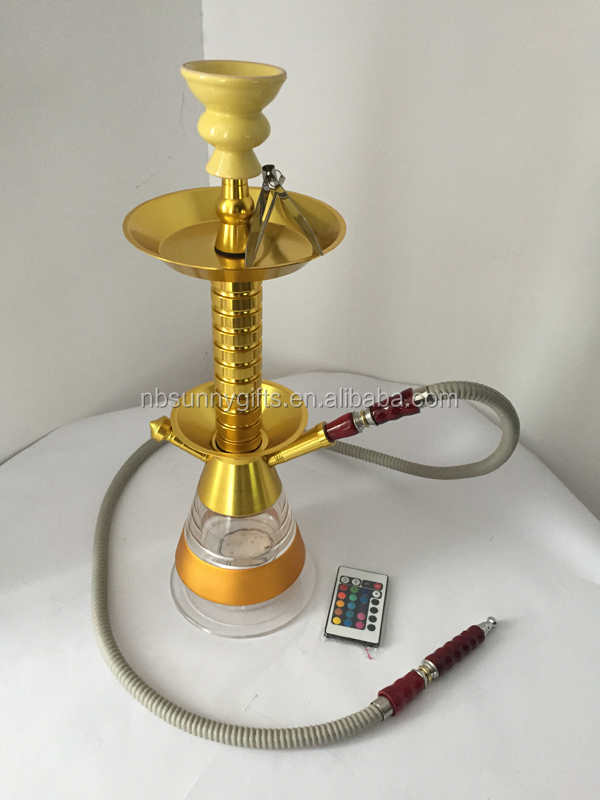 2015 newest morden with remote control LED glass hookah with led lights for hookah