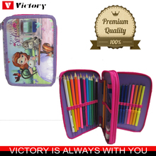 Beautiful 3 layers zipper pencil case for school students