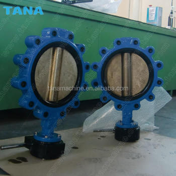 DN200 lug type cast iron butterfly valve with spindle