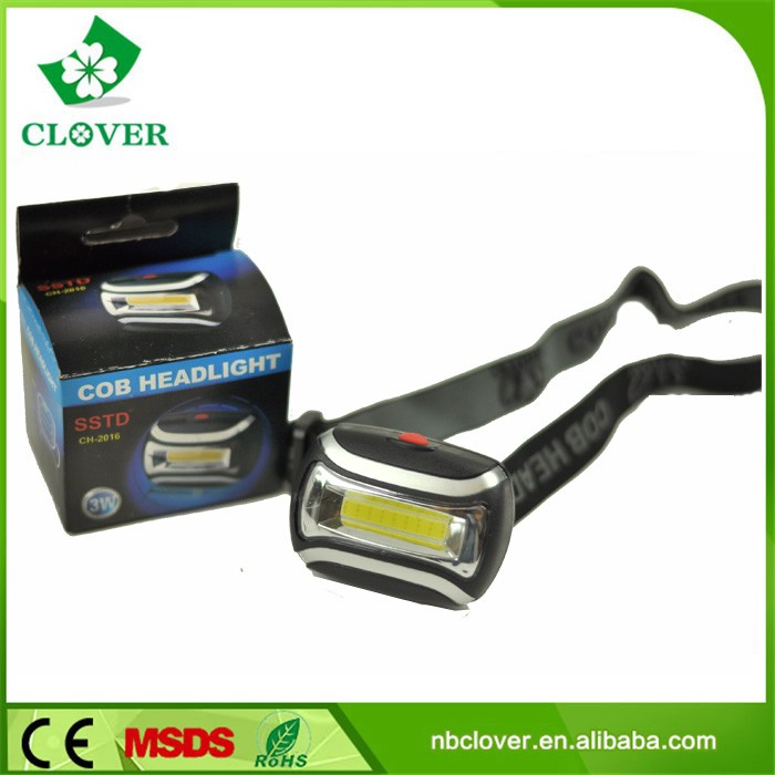 ABS material 3 modes 3W cob 200 lumens waterproof led headlamp