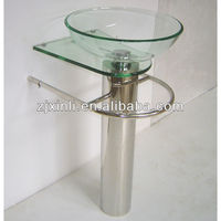 High Quality Tempered Glass Bathroom Pedestal Sink, Transparent Glass with Stainless Steel Holder