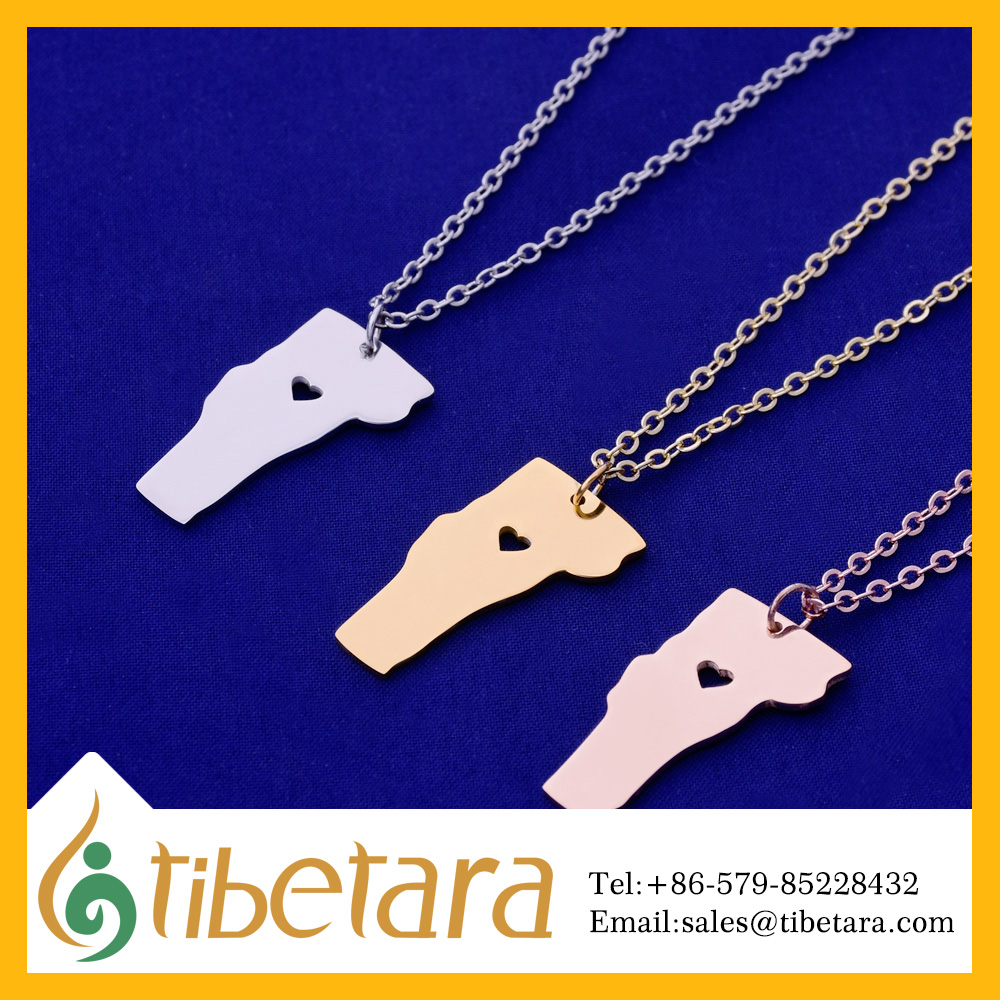 About 15x28mm tibetara Stainless Steel Vermont-VT Blank ,Long Distance, Fashion State-ment Necklace, United States