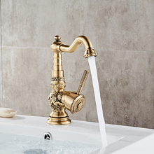 Zinc alloy single handle gold retro traditional basin mixer tap faucets