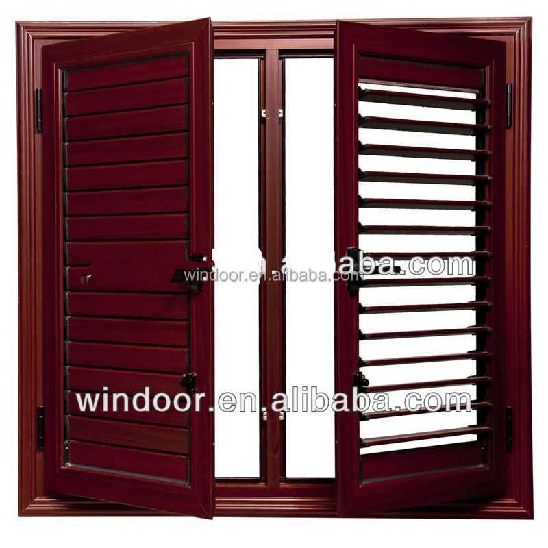 Plastic PVC shutter window, UPVC profile dual glass PVC shutter window germany machine produced high quality PVC window