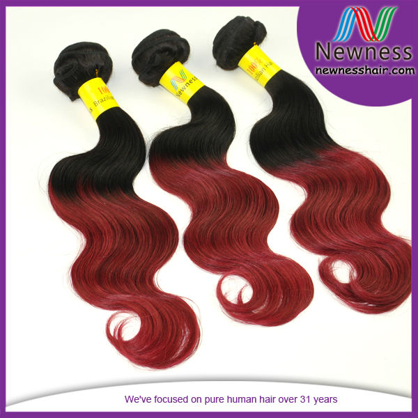 Factory direct wholesale paypal accept free shipping shedding&tangle free #1b/red two tone magic weave hair