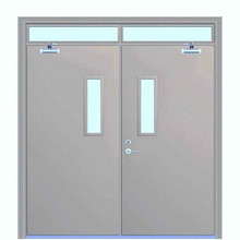 commercial exterior fire rated steel door with glass insert
