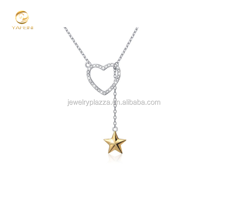 Personalized Gifts S925 Sterling Silver Heart And Star Lariat Y Necklace