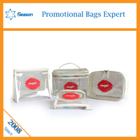 Cheap modella printed lip wholesale transparent ladies bulk high quality clear pvc toiletry cosmetic bag