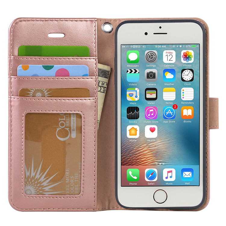 Pink Fashion Waterproof Leather Long Card Wallet Phone Case Wallet for iphone 7 7 plus