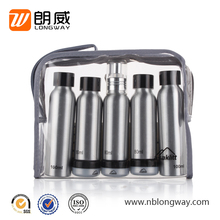 2017 most popular 5pcs silver aluminum airplane travel toiletry bottle set
