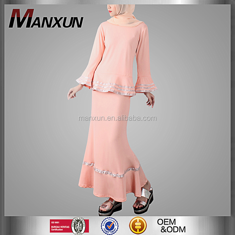 Manxun 2016 hot sale pink baju kurung modern design flouncing cuff and hem muslim dress baju kurung malaysia