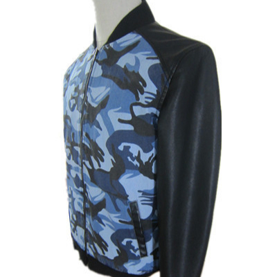men's camouflage army printing varsity PU leather jackets