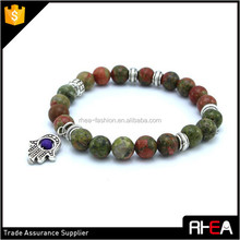 2016 new design hot natural red and green marble bracelet sticks. Antique Silver Hamsa blue evil eye jewelry