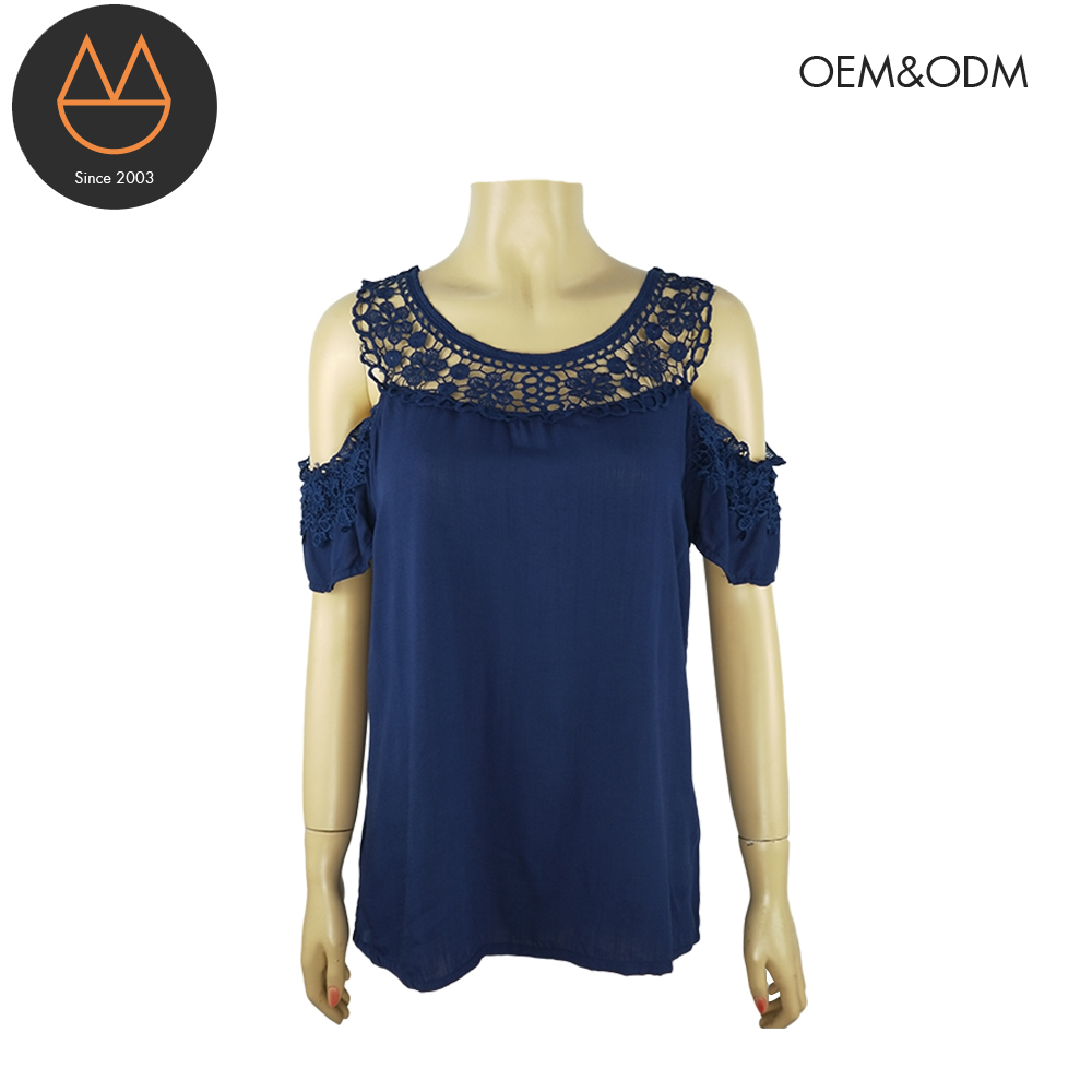 The latest embroidered chiffon cold shoulder round neck tops