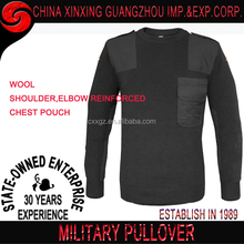 95% wool shouder patch military grade sweater men