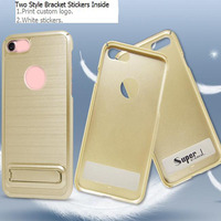 Custom Printed Logo Stickers 2 Styles Stand Holder TPU PC Dual Phone Case Mobile Cover For I7p