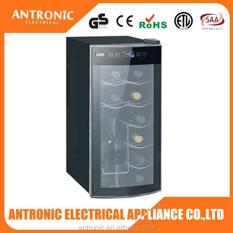 2016 NEW ATC-35L ETL/CE/ROHS carved glass door 35L wine cooler LED wine cooler 12 bottles champagne wine chiller
