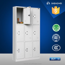 9 doors steel locker metal cabinet shelf clips with low price
