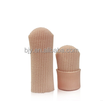 2PCs Fabric Ribbed Gel Digital Toe / Finger Protector Separator Tube Caps Covers Corn Blister Sleeves Prevent Foot Callus