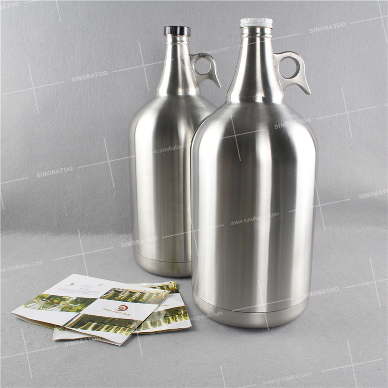 Empty wholesale stainless steel ONE GALLON beer bottles with beating best carbonated glass threaded cap