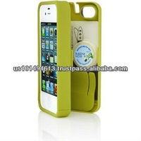 Chartreuse Case for iPhone 4/4S with built-in storage space for credit cards/ID/money