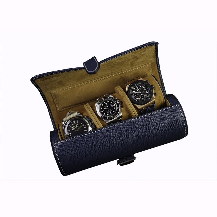 3 pieces watch packaging case leather roll watch box