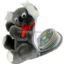 Plush CD DVD DISCS storage carrying case holder koala shape bag /custom plush storage carrying case holder