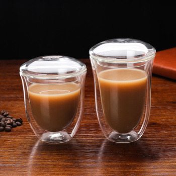 High Borosilicate Wholesale Glass Coffee Cup Mug With Glass Lid Double Wall Glass Cup