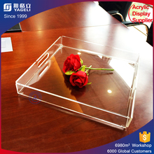 Clear acrylic serving tray lucite food drinks tray for sale