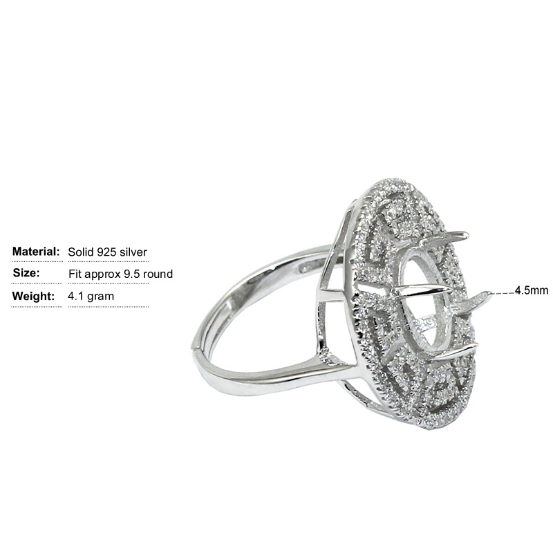 Beadsnice ID30610 925 silver ring setting adjustable US ring size 7 to 9 fit 9.5 mm round gemstone sold by PC men's silver rings